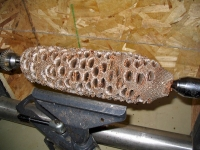 Banksia pod mounted on lathe
