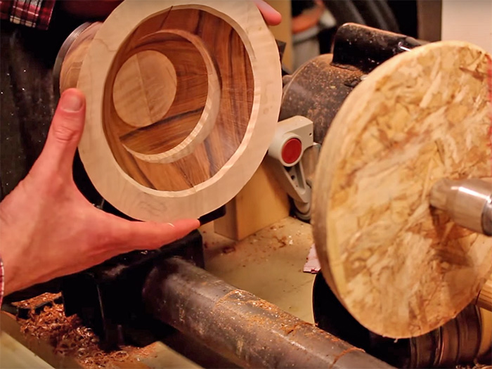 In this project, the layers were built up and glued on right on the lathe.