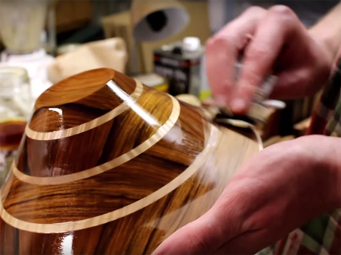 For this bowl, I used a few seal coats of shop-made shellac, followed by a wiping varnish.