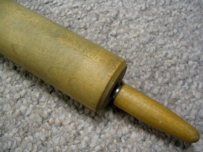 Despite its discoloration and wear, its very likely that this rolling pin is made of hard maple.